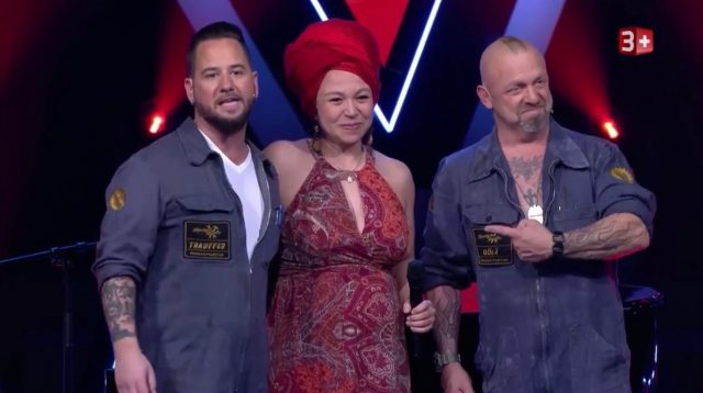 The Voice of Switzerland Talent Jasmin Di Pietro mit Büetzerbuebe Trauter und Gölä